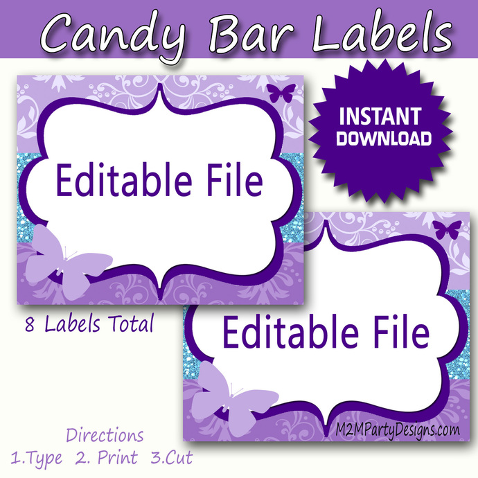 Candy Buffet Labels Butterfly Labels Print EDITABLE Card, Purple Candy, Popcorn,
