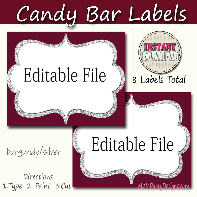 Candy Buffet Labels Burgundy and Silver Print, EDITABLE Card, Candy, Popcorn,