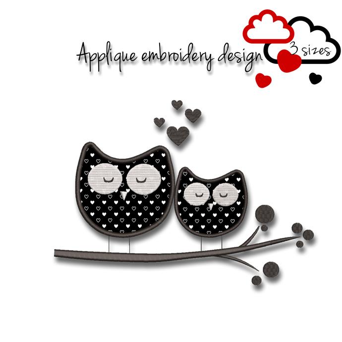 Owls embroidery machine design Valentine's day love wedding pattern heart