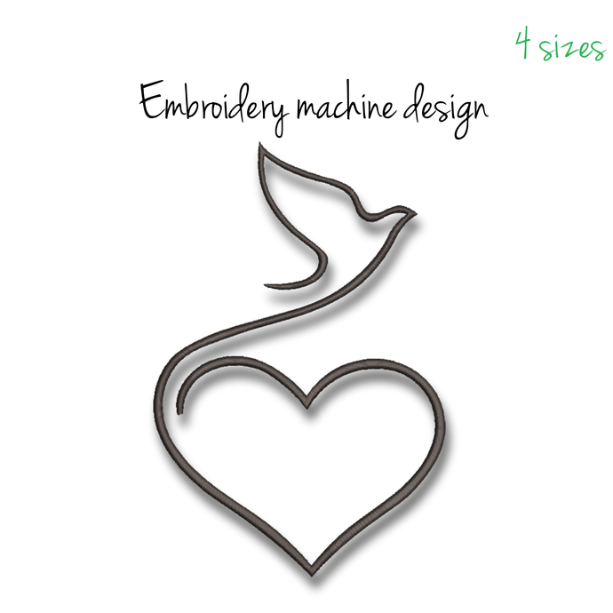 Machine Embroidery Design dove pigeon heart designs machine digital instant