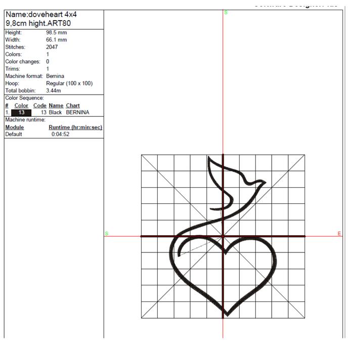 Machine Embroidery Design dove pigeon heart designs machine digital instant