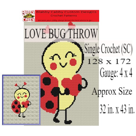 Love Bug Baby Throw, 128 x 172 SC, Crochet Graph and Written Pattern