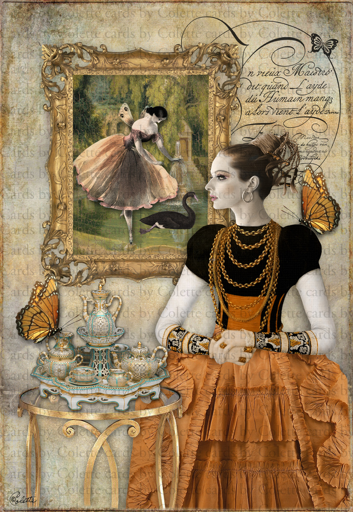 Beauty and Tea Digital Collage Greeting Card2151