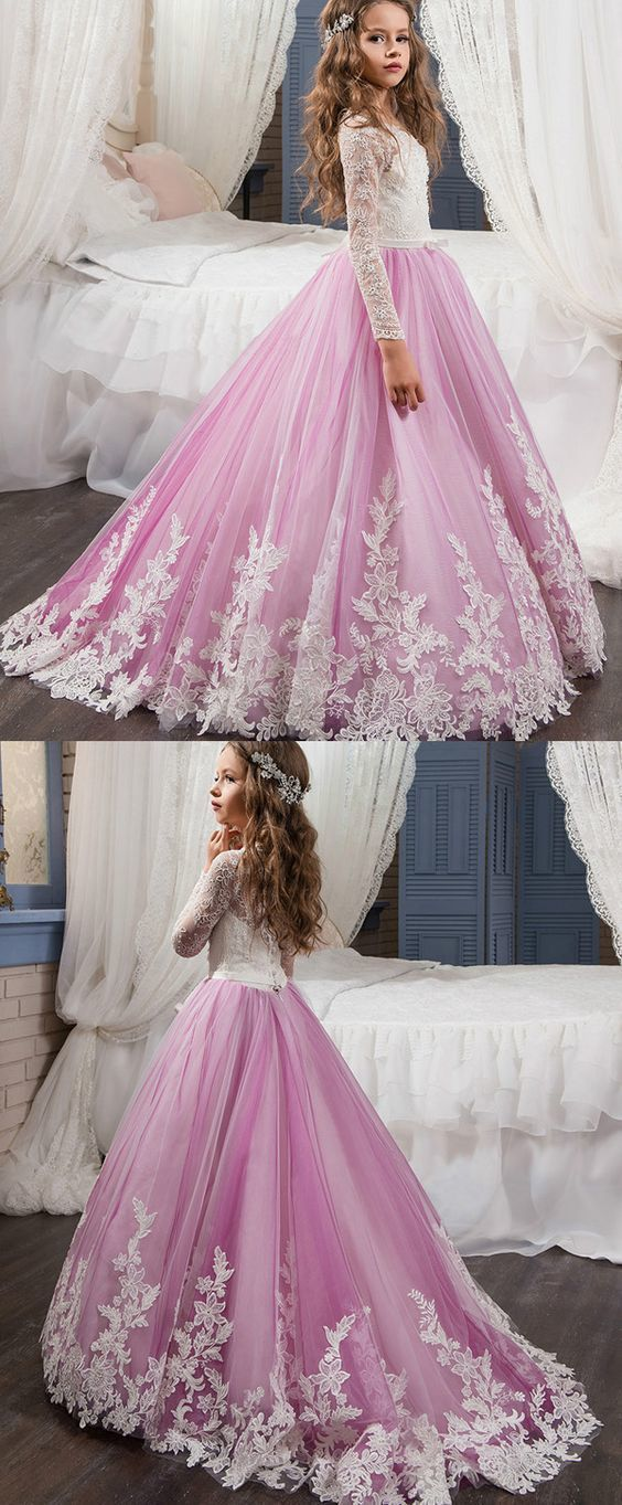 4806ae50b9 Gorgeous Tulle   Lace Scoop Neckline A-Line Flower Girl Dresses With Beaded  Lace