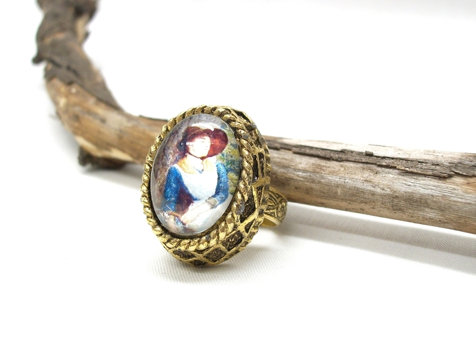 Cameo ring in vintage setting, reproduction Asleep in the Woods by Hughes,