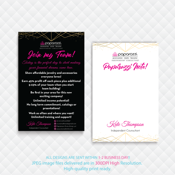 Join My Team cards, Paparazzi Consultant Cards, Paparazzi Note Cards, Paparazzi