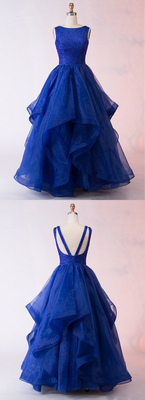Royal Blue Organza Layered Long Open Back Sequins Prom Gown, Evening Dress