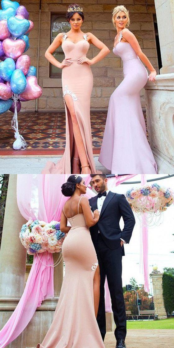 Mermaid Appliques Spaghetti Straps High Split Long Bridesmaid Dresses,