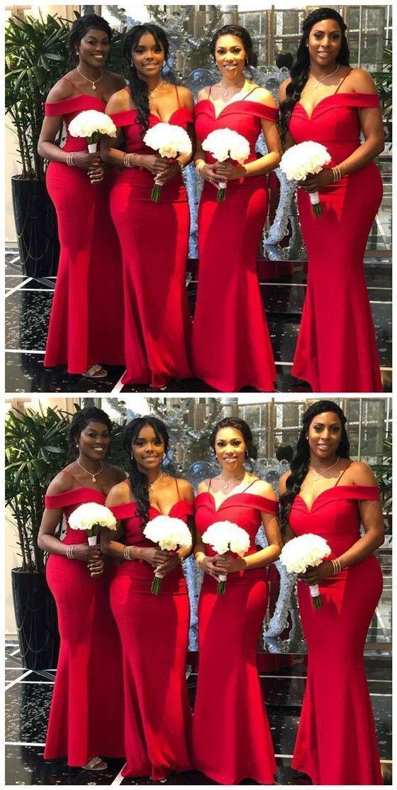 Mermaid Off-the-Shoulder Sleeveless Floor-Length Modern Red Bridesmaid Dress