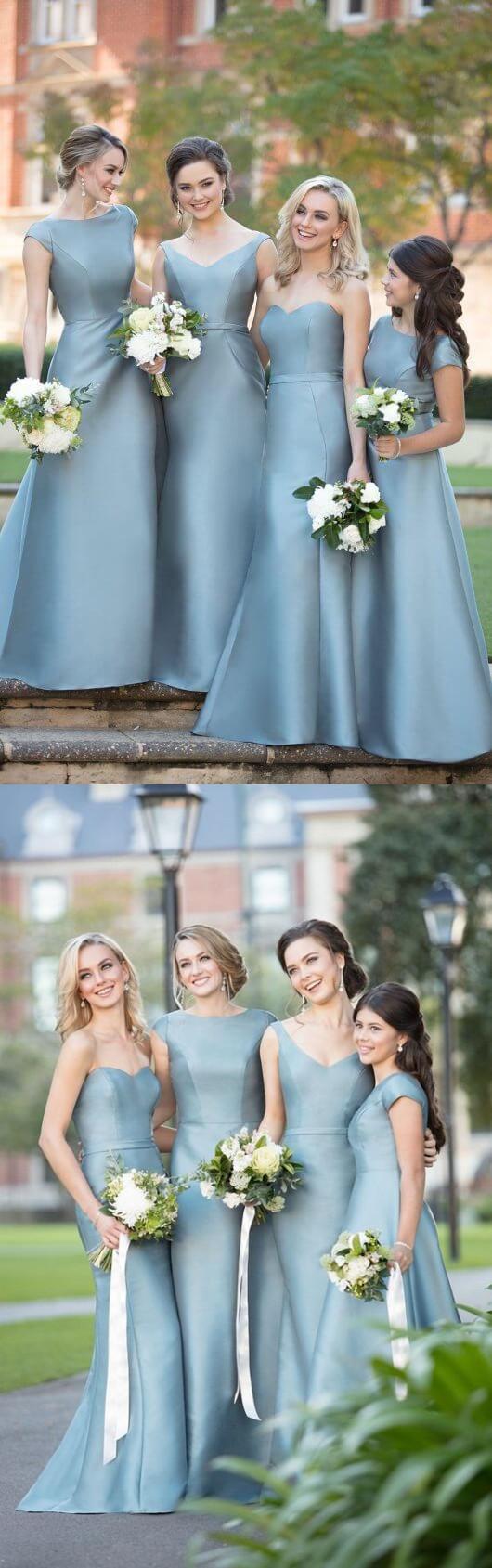 Round Neck/Sweetheart or V neck Blue Satin Long Bridesmaid Dress