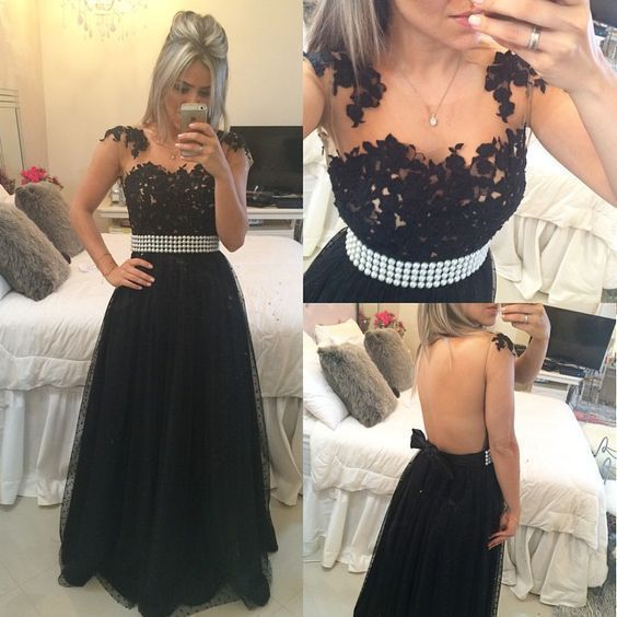 Charming Black Appliques Tulle Homecoming Dress, Sexy Backless Evening