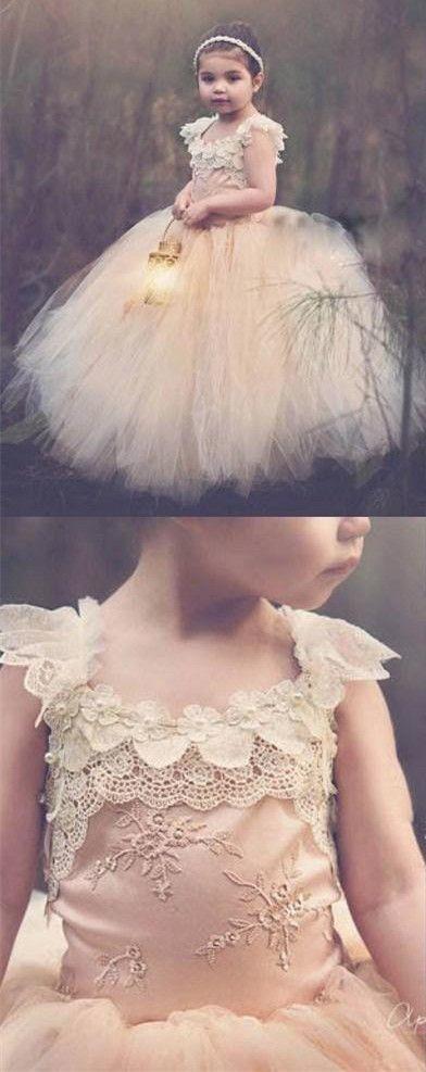 flower girl dress, long flower girl dress, flower girl dress puffy, champagne