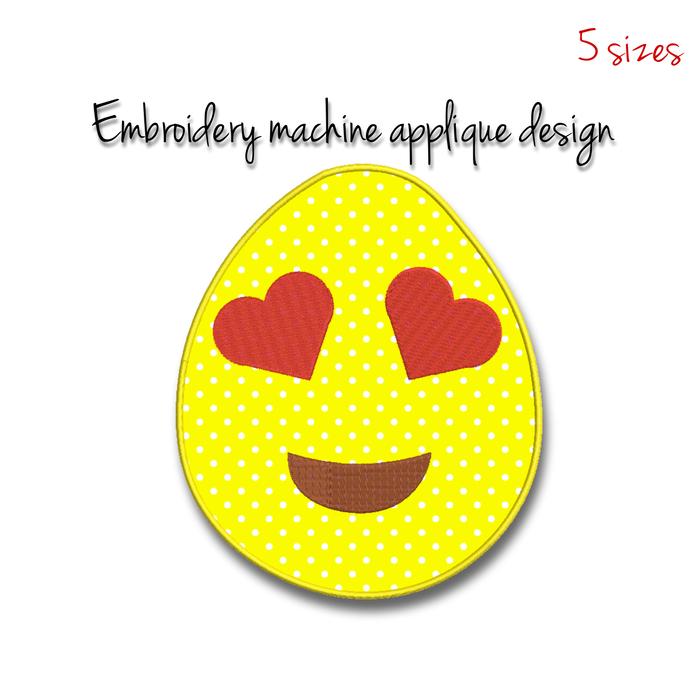 Emoji applique Embroidery Machine Design easter egg digital instant download