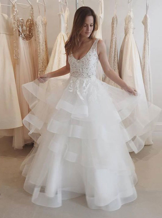 85603355ee5 White v neck lace tulle long prom gown