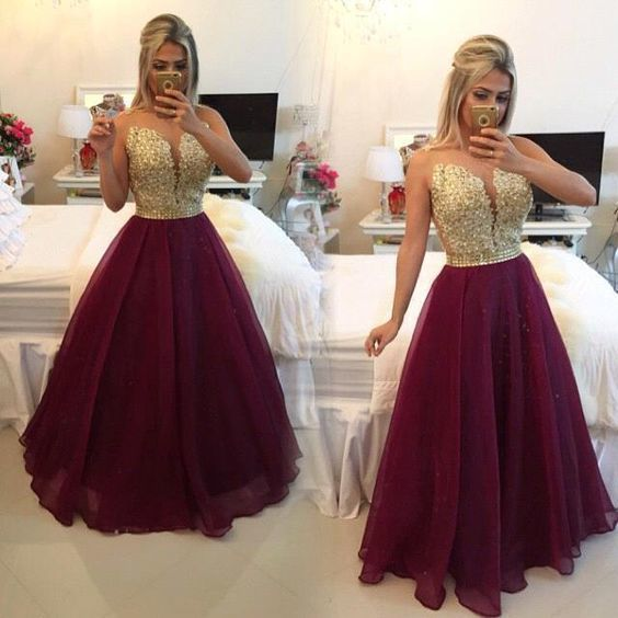 7f1c3a1472c Burgundy Gold Applique Long Prom Evening Dresses Party Cocktail Gown Custom  Prom