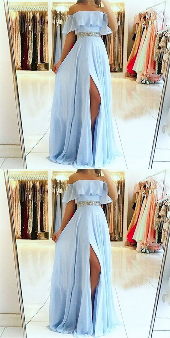 A-Line Off the Shoulder Split Front Blue Chiffon Prom Dress with Beading Belt