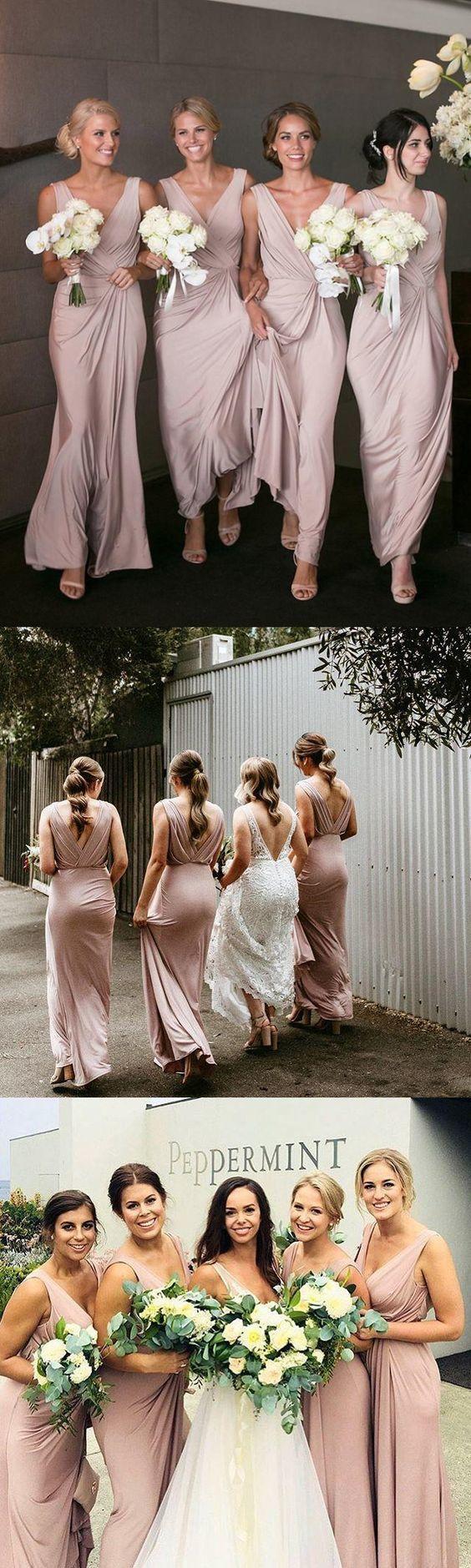 Chic Pink Bridesmaid Dresses Cheap Long Bridesmaid Dresses