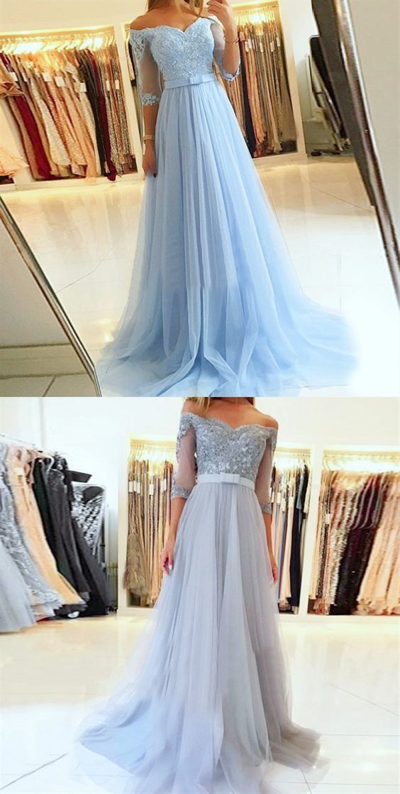 Charming Blue Appliques Homecoming Dress, Tulle Girl Prom Dress, Sexy Half