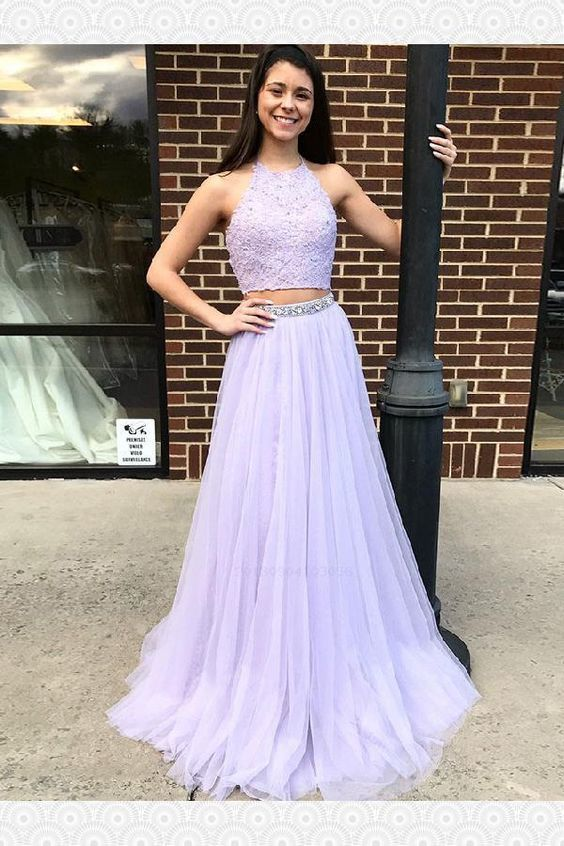 Charming Appliques Homecoming Dress, Two Piece Lavender Girl Prom Dress, Sexy