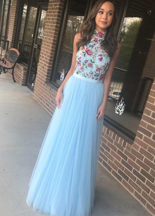 a8c04eb06b Light Blue Tulle Homecoming Dress