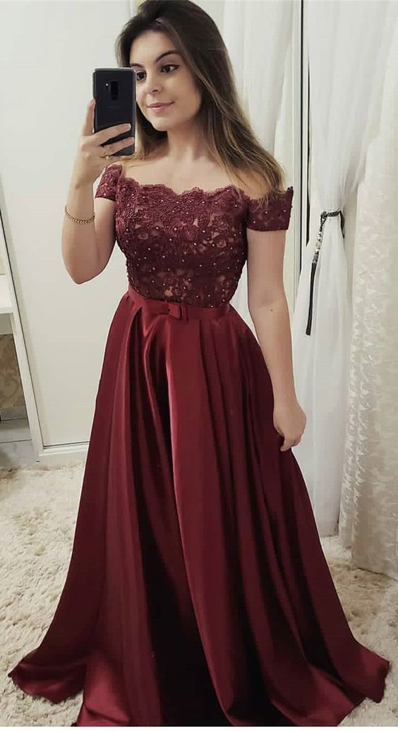 Pretty Burgundy Appliques Homecoming Dress, Sexy Prom Dresses, Cheap Evening