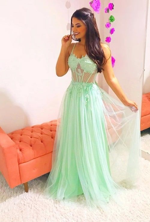 Charming Green Appliques Prom Dress Girl Fancygirldress