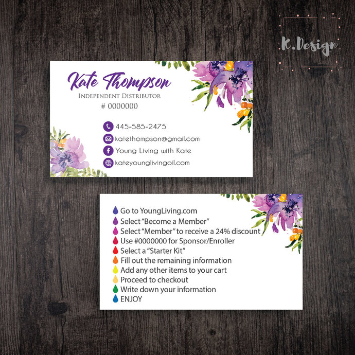 Young Living Business Cards, Personalized YLEO Business Cards, Essential Oil