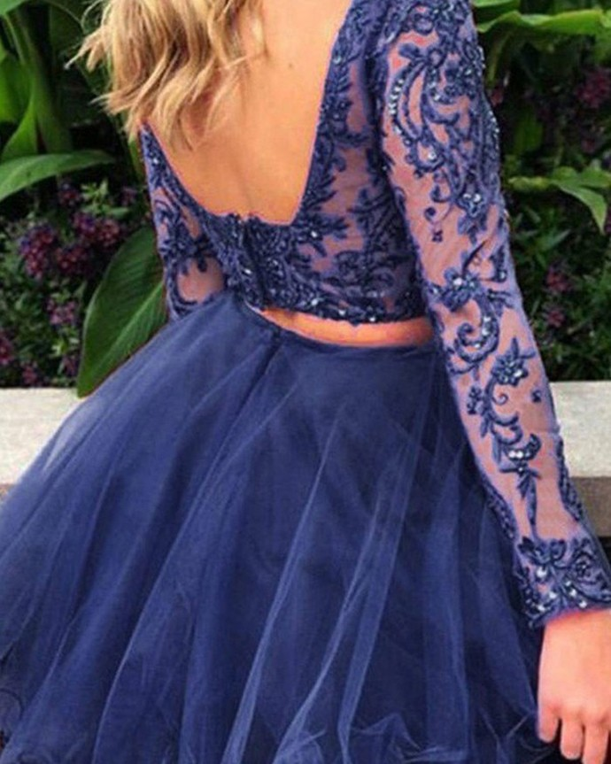 Navy Blue Beading Two Piece Short Homecoming Dress With Long Sleeves