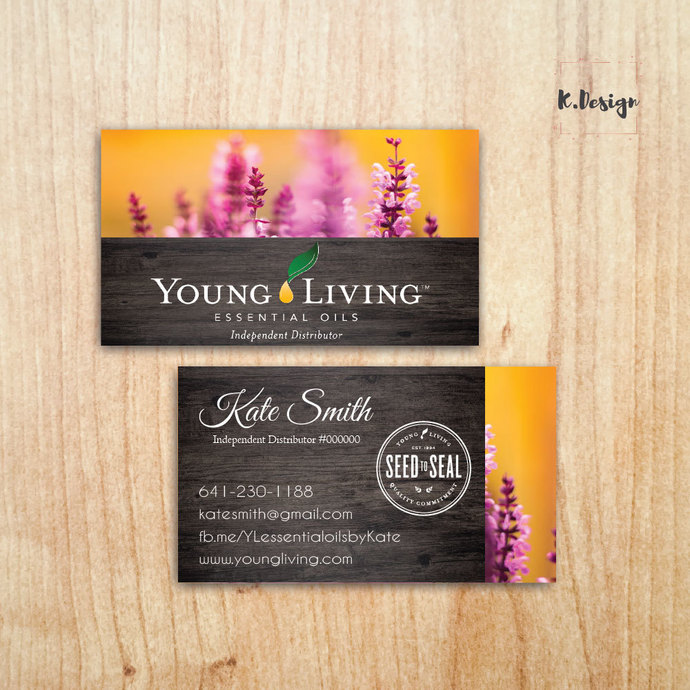 Custom Business Card, Personalized YLEO Business Cards, Young Living Business