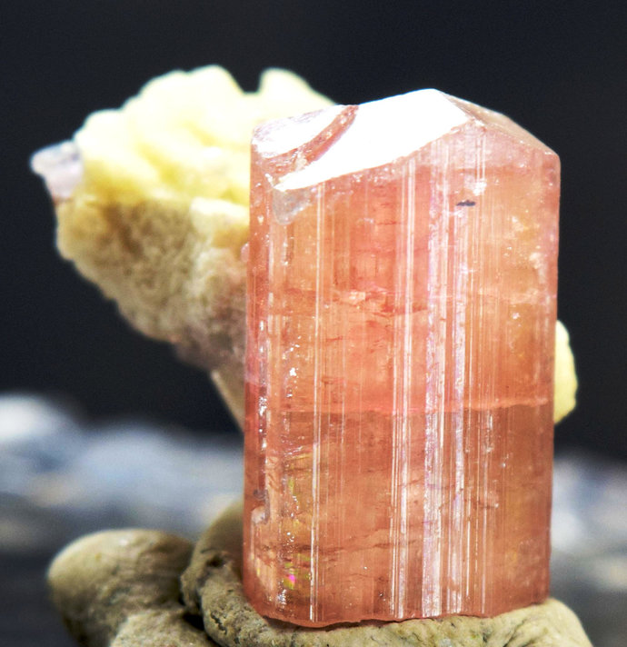 45 carats Terminated Pinkish Orange Natural Tourmaline Crystal with Albite from