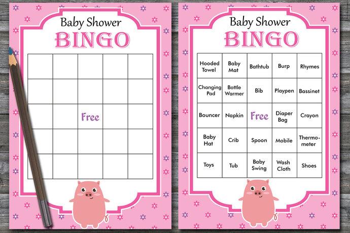60 Pink Pig baby shower bingo cards, piglet baby shower Bingo Cards -  baby