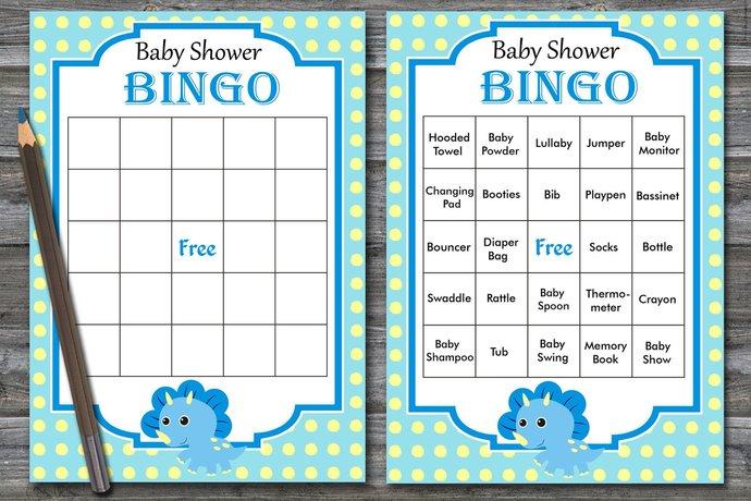 60 dinosaur Baby Shower Bingo Cards,Dinosaur baby shower bingo,baby shower Bingo