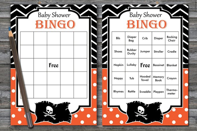 60 Pirate Baby Shower Bingo Cards Pirate By Brightcolordesign On