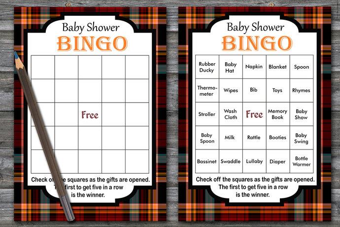 60 cards,tartan baby shower bingo, tartan pattern bingo game, red tartan baby