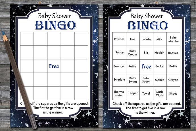 60 cards,gold stars baby shower bingo, gold stars bingo game, silver stars baby