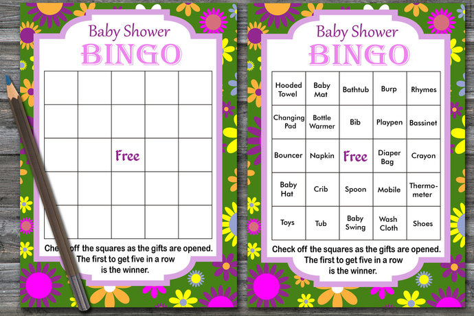 60 cards, Floral baby shower bingo, watercolor flowers baby shower, Colored