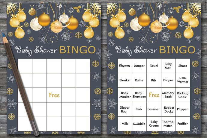 60 cards,Christmas baby shower bingo, gold snowflake baby shower bingo, gold
