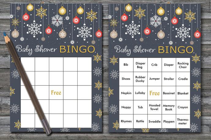 60 cards ,Christmas baby shower bingo, gold snowflake baby shower bingo,