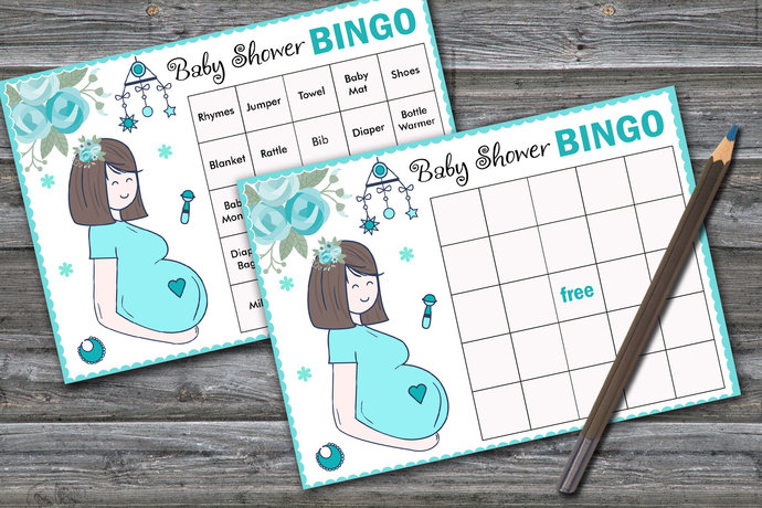 60 watercolor flowers bingo cards, pregnant mom baby shower bingo, mom and son