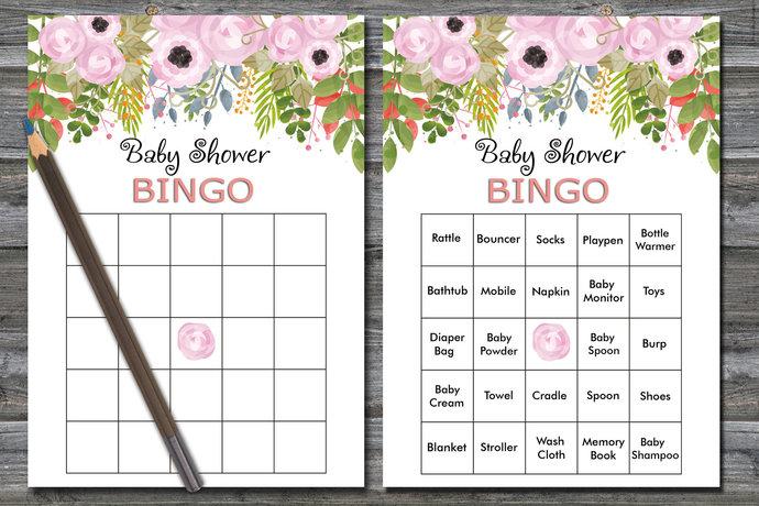 60 watercolor flowers bingo cards, Floral baby shower bingo, watercolor flowers