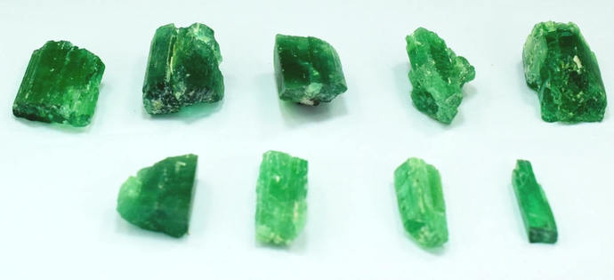 9 Pieces Lot of Green Color Kunzite Hiddenite Spodumene Rough Crystals For