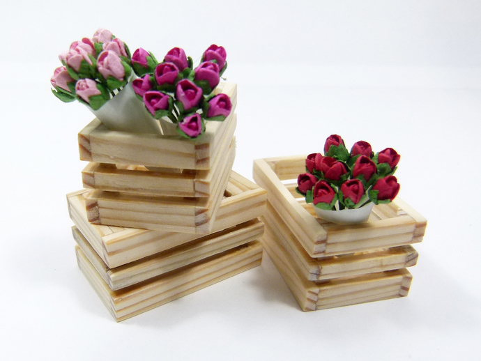 3 handmade Miniature Dollhouse Crates, filled with 3 Rose Bouquets, 1:12 Scale