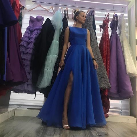 Elegant Simple Blue Prom Dress with Slit Floor Length Evening Dresses High