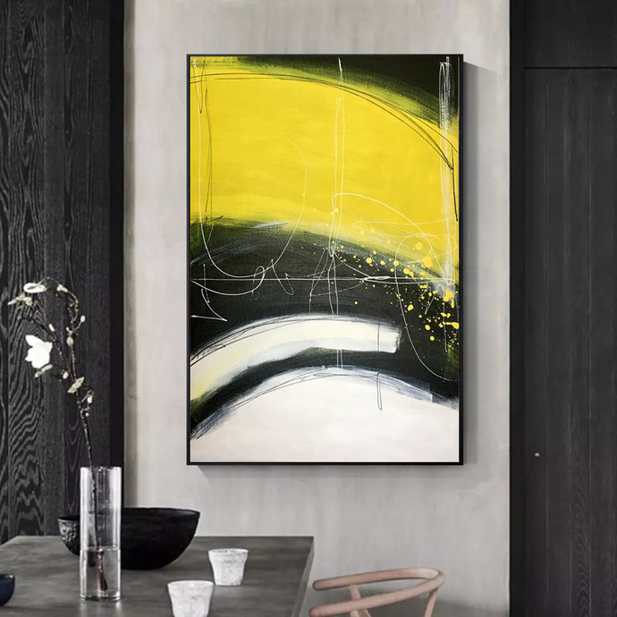 Modern art on canvas, Wall decoration, White, Original painting, painting on