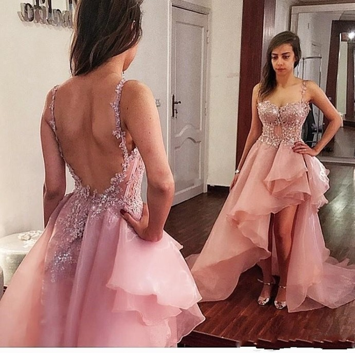 Sexy Beach Boho Nude Pink High Low Prom Dress Spaghetti Strap Lace Applique Sexy