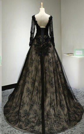 Hot sale black lace long sleeve backless long Prom Dresses 2019 Floor Length