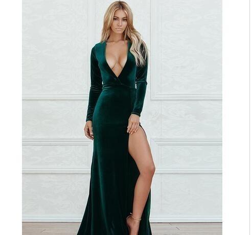 Beautiful Sheath Split Evening Dresses Dark Green Beautiful SheatProm Dress Long