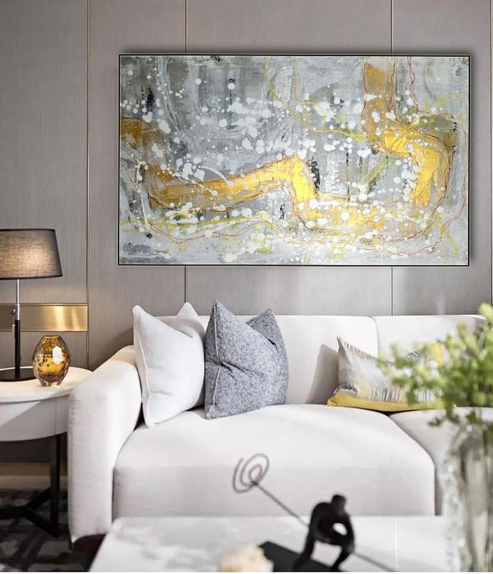 Modern art on canvas, Original painting, Gray,White,Gold,Silver,Original