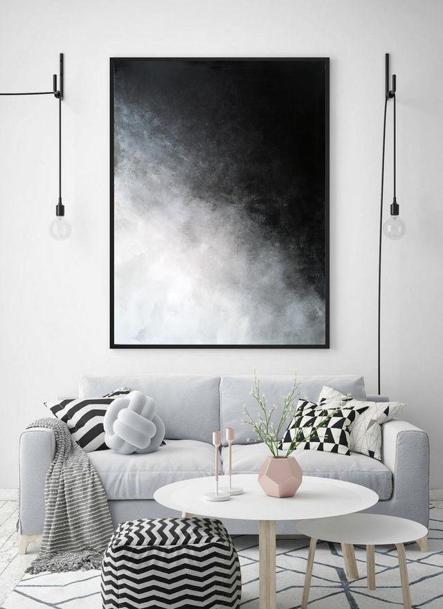 Modern art on canvas,Original painting,Gray,White,Black,Original abstract