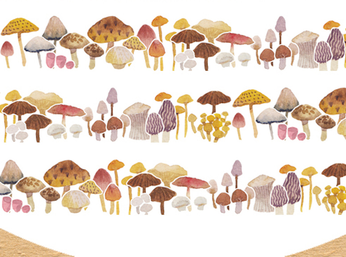 1 Roll of Limited Edition Washi Tape: Mushroom toadstool